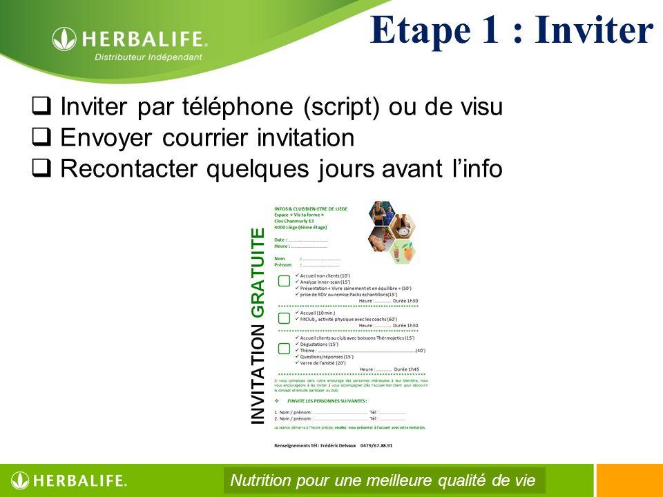 Etape 1 : Inviter Inviter par téléphone (script) ou de visu Envoyer courrier invitation Recontacter quelques jours avant linfo Nutrition pour une meil