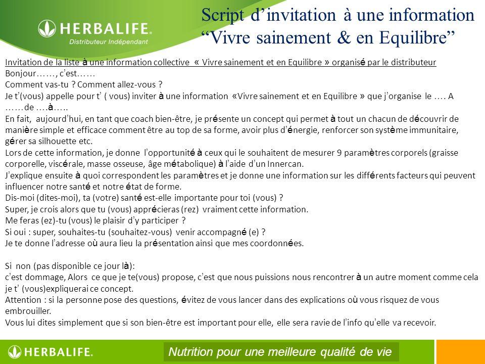 Script dinvitation à une information Vivre sainement & en Equilibre Invitation de la liste à une information collective « Vivre sainement et en Equili