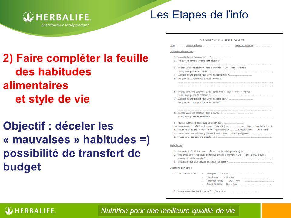 2) Faire compléter la feuille des habitudes alimentaires et style de vie Objectif : déceler les « mauvaises » habitudes =) possibilité de transfert de