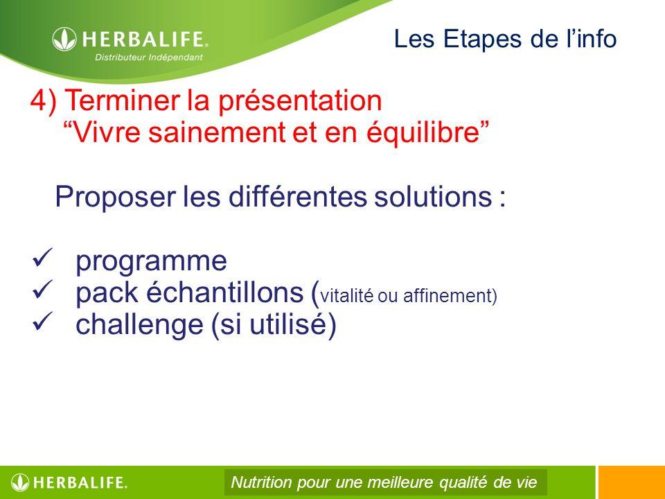 4) Terminer la présentation Vivre sainement et en équilibre Proposer les différentes solutions : programme pack échantillons ( vitalité ou affinement)