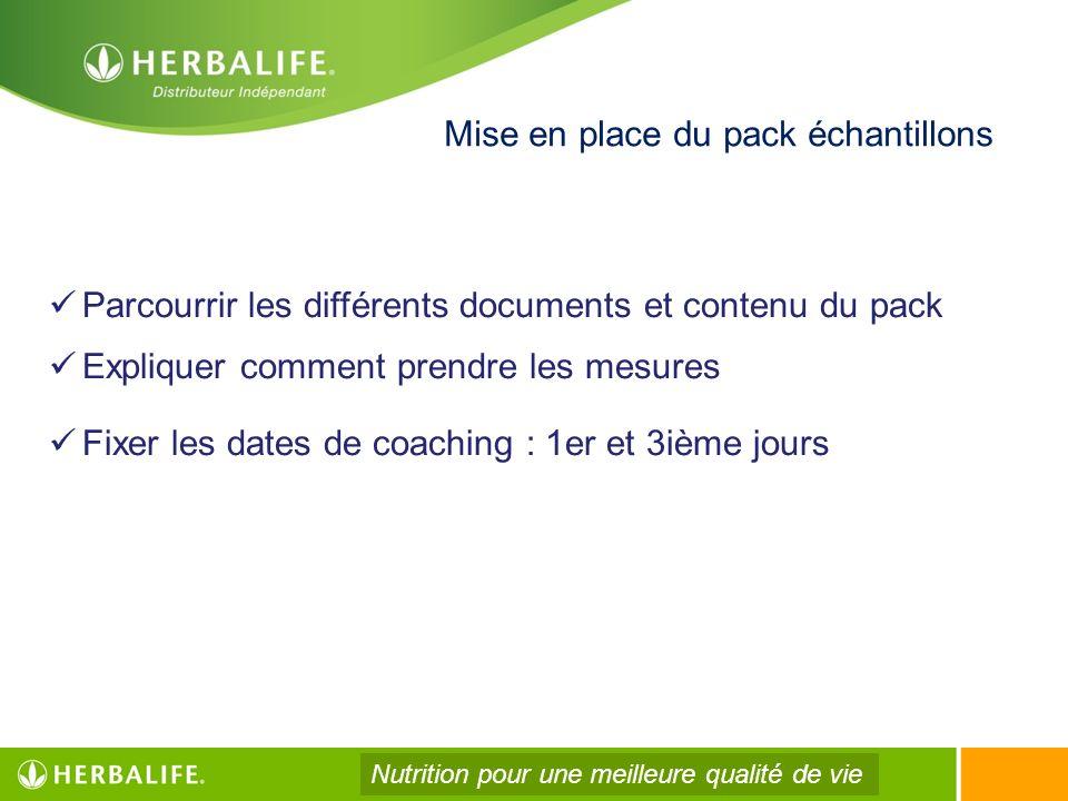 Mise en place du pack échantillons Parcourrir les différents documents et contenu du pack Expliquer comment prendre les mesures Fixer les dates de coa