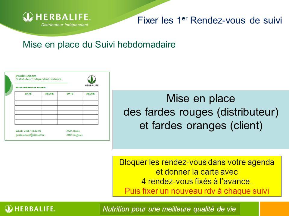 Mise en place du Suivi hebdomadaire Fixer les 1 er Rendez-vous de suivi Mise en place des fardes rouges (distributeur) et fardes oranges (client) Bloq