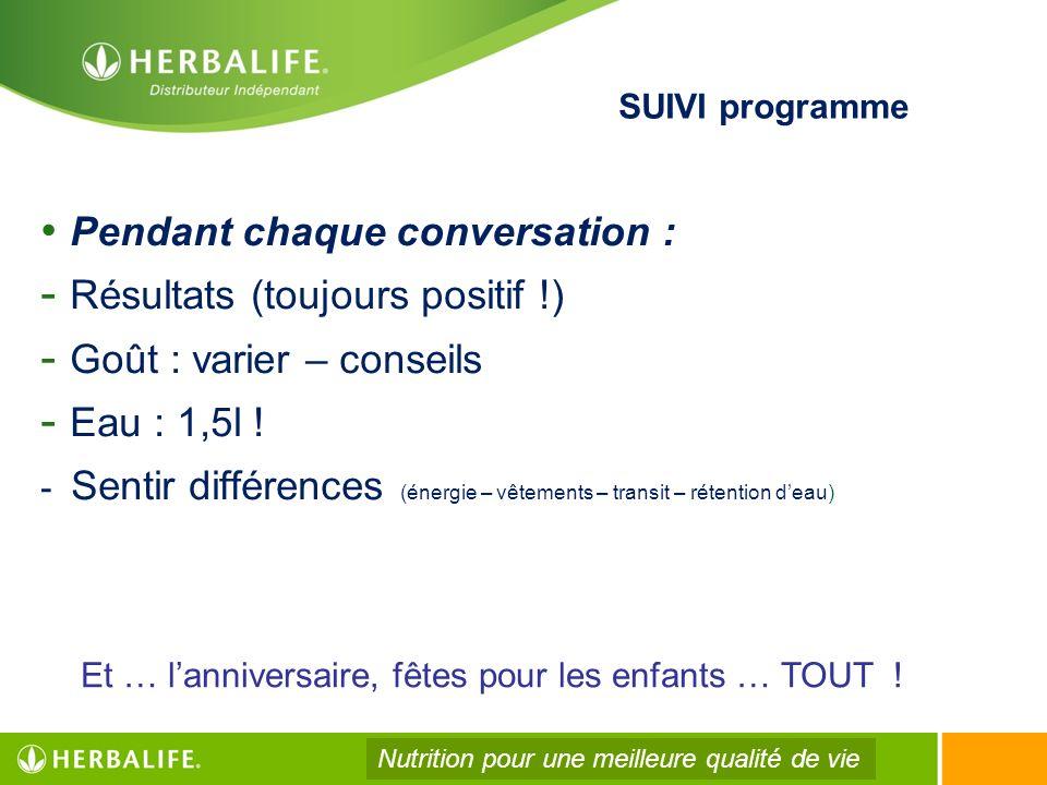 SUIVI programme Pendant chaque conversation : - Résultats (toujours positif !) - Goût : varier – conseils - Eau : 1,5l ! - Sentir différences (énergie