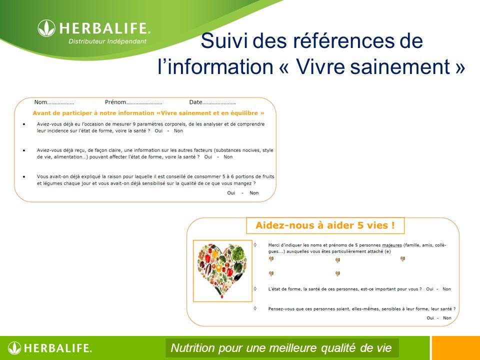 Suivi des références de linformation « Vivre sainement » Nutrition pour une meilleure qualité de vie