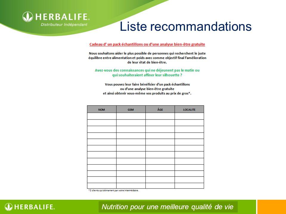 Liste recommandations Nutrition pour une meilleure qualité de vie