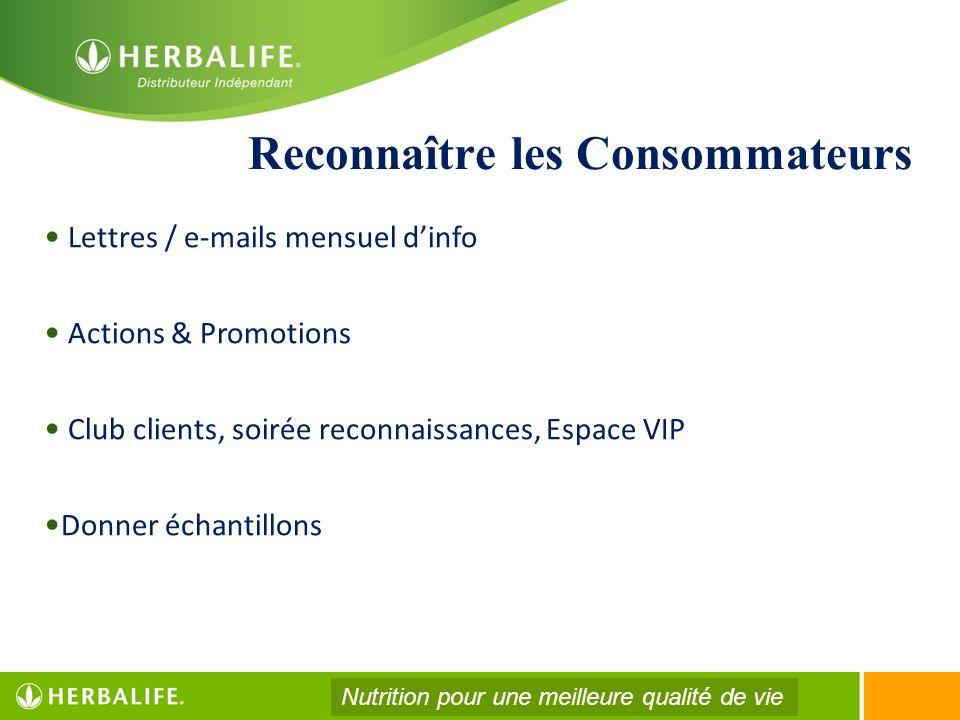 Reconnaître les Consommateurs Lettres / e-mails mensuel dinfo Actions & Promotions Club clients, soirée reconnaissances, Espace VIP Donner échantillon