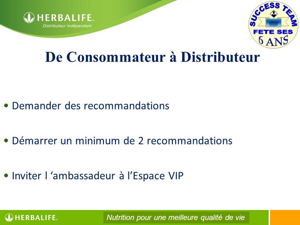 De Consommateur à Distributeur Demander des recommandations Démarrer un minimum de 2 recommandations Inviter l ambassadeur à lEspace VIP Nutrition pou
