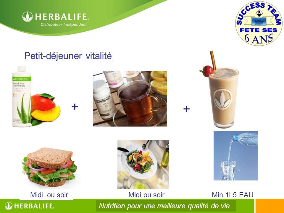 Midi ou soir Petit-déjeuner vitalité + + Midi ou soirMin 1L5 EAU Nutrition pour une meilleure qualité de vie
