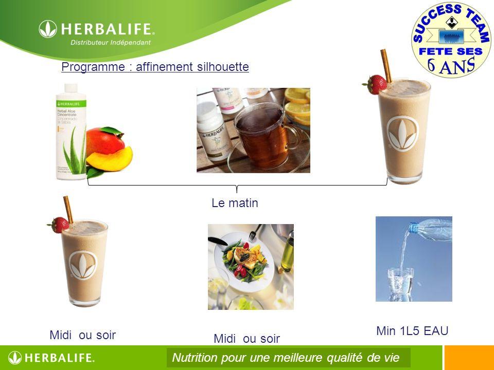 Programme : affinement silhouette Midi ou soir Min 1L5 EAU Le matin Nutrition pour une meilleure qualité de vie