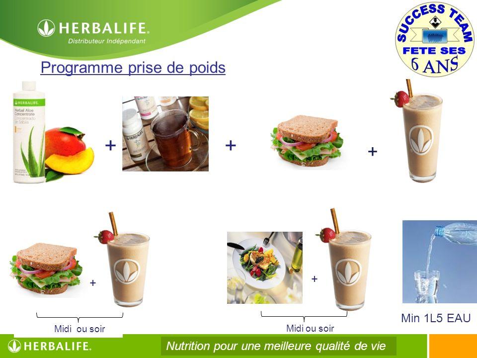 Midi ou soir Programme prise de poids ++ Midi ou soir Min 1L5 EAU + + + Nutrition pour une meilleure qualité de vie