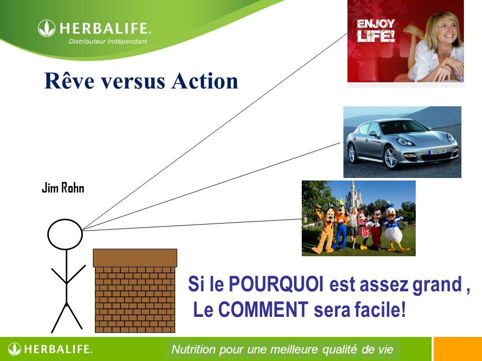 Si le POURQUOI est assez grand, Le COMMENT sera facile! Jim Rohn Rêve versus Action Nutrition pour une meilleure qualité de vie