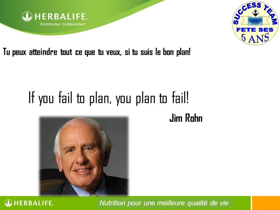 Tu peux atteindre tout ce que tu veux, si tu suis le bon plan! If you fail to plan, you plan to fail! Jim Rohn Nutrition pour une meilleure qualité de