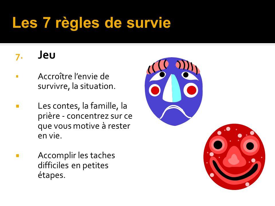 7.Jeu Accroître lenvie de survivre, la situation.