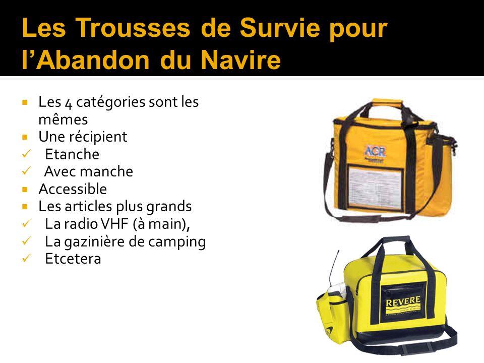 Les 4 catégories sont les mêmes Une récipient Etanche Avec manche Accessible Les articles plus grands La radio VHF (à main), La gazinière de camping E