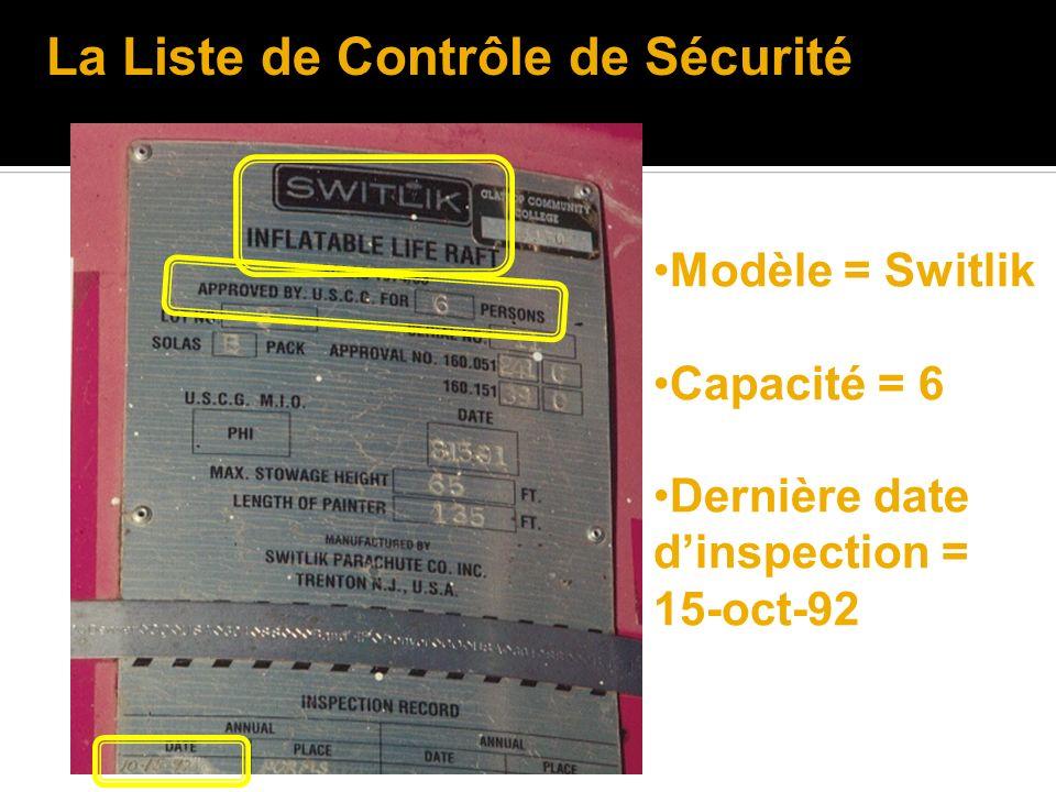 Modèle = Switlik Capacité = 6 Dernière date dinspection = 15-oct-92 La Liste de Contrôle de Sécurité
