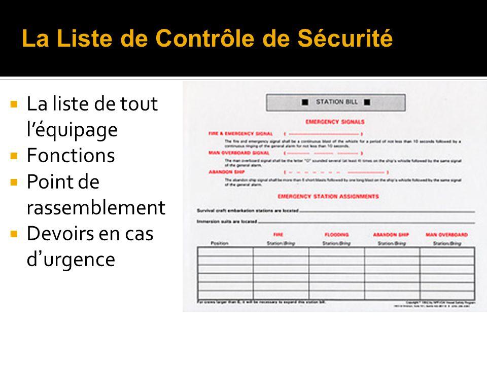 La liste de tout léquipage Fonctions Point de rassemblement Devoirs en cas d urgence La Liste de Contrôle de Sécurité