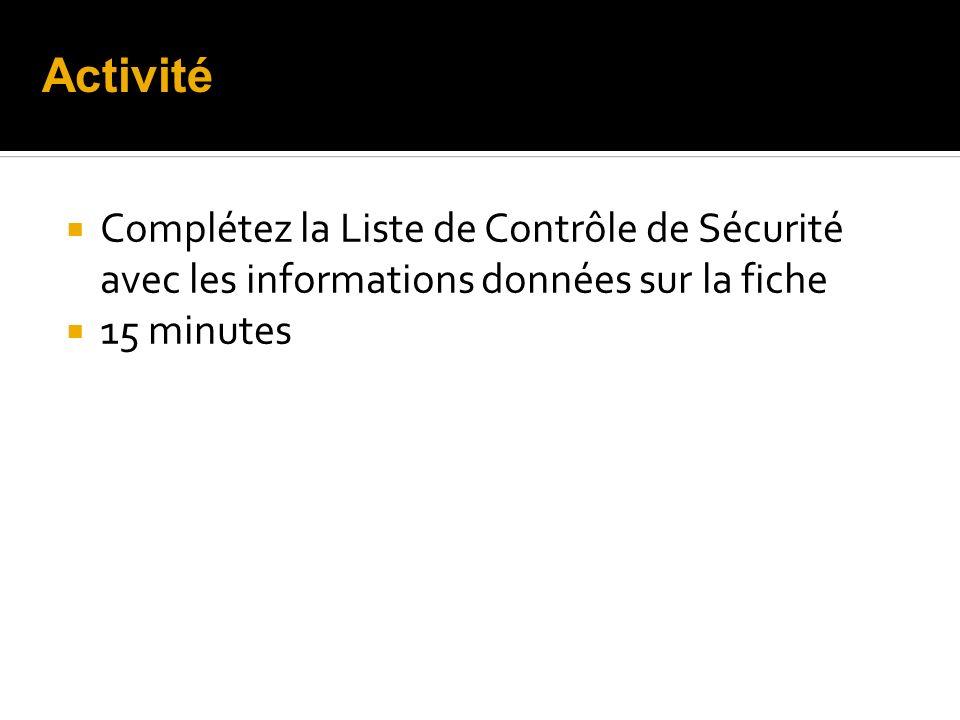 Complétez la Liste de Contrôle de Sécurité avec les informations données sur la fiche 15 minutes Activité