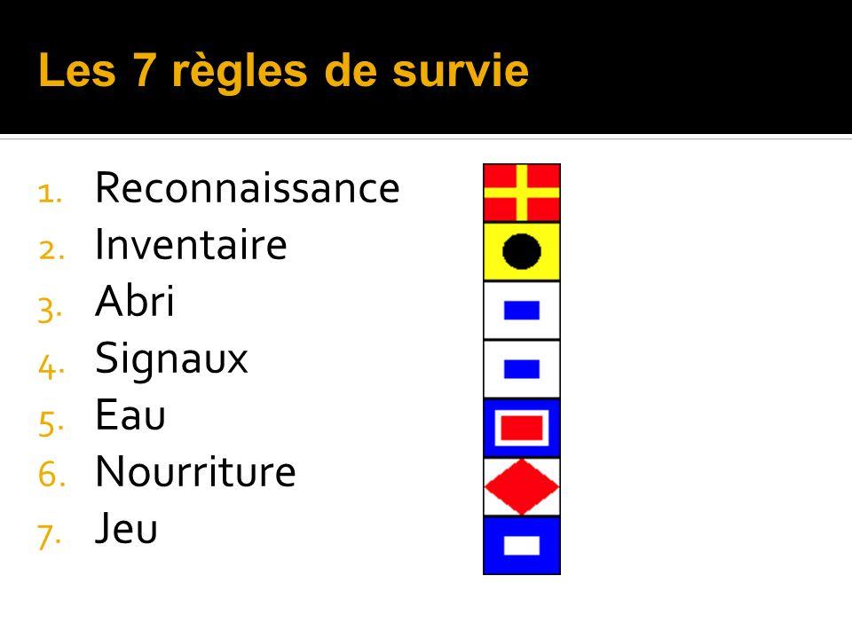 1. Reconnaissance 2. Inventaire 3. Abri 4. Signaux 5. Eau 6. Nourriture 7. Jeu Les 7 règles de survie