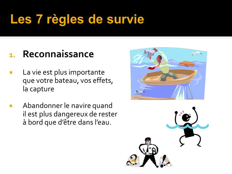 1. Reconnaissance La vie est plus importante que votre bateau, vos effets, la capture Abandonner le navire quand il est plus dangereux de rester à bor