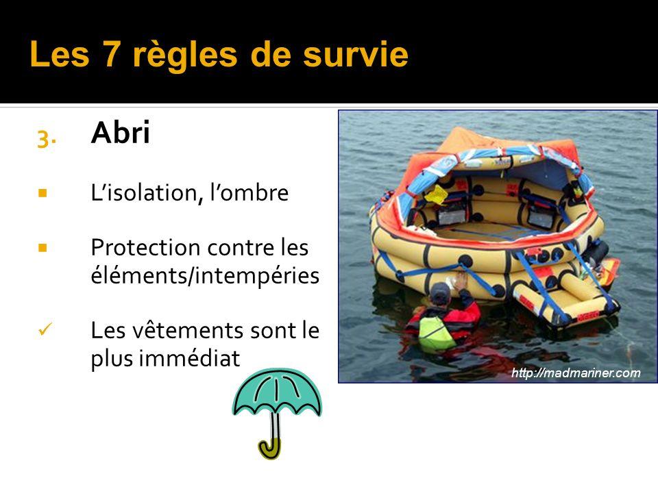3. Abri Lisolation, lombre Protection contre les éléments/intempéries Les vêtements sont le plus immédiat http://madmariner.com Les 7 règles de survie