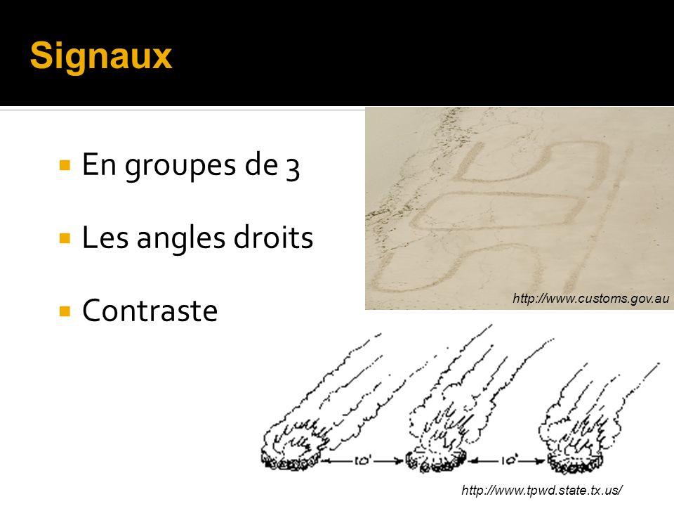 En groupes de 3 Les angles droits Contraste http://www.customs.gov.au http://www.tpwd.state.tx.us/ Signaux