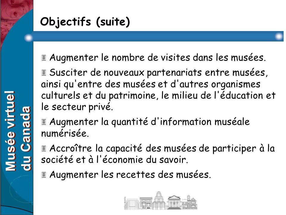 Objectifs (suite) 3 Augmenter le nombre de visites dans les musées.