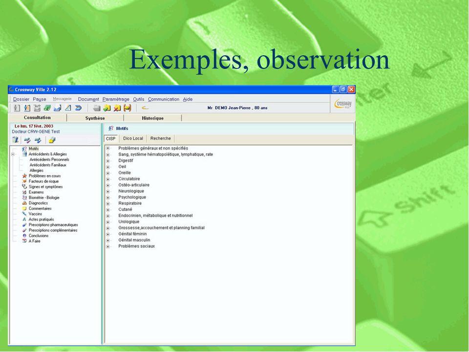 Exemples, observation