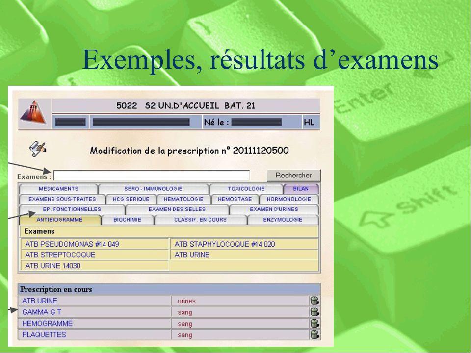 Exemples, résultats dexamens