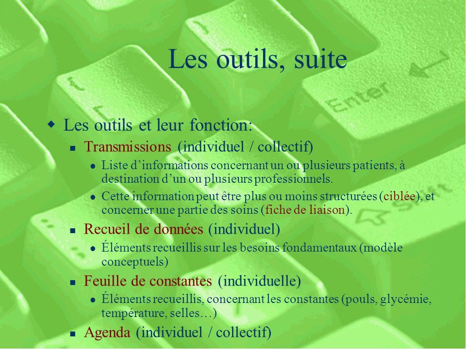 Les outils, suite Les outils et leur fonction: Transmissions (individuel / collectif) Liste dinformations concernant un ou plusieurs patients, à destination dun ou plusieurs professionnels.