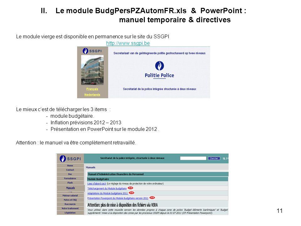 11 II. Le module BudgPersPZAutomFR.xls & PowerPoint : manuel temporaire & directives Le module vierge est disponible en permanence sur le site du SSGP