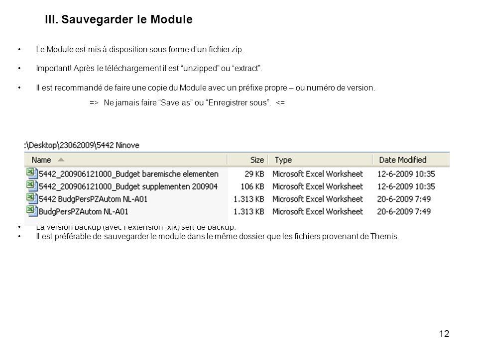 12 III. Sauvegarder le Module Le Module est mis à disposition sous forme dun fichier zip. Important! Après le téléchargement il est unzipped ou extrac