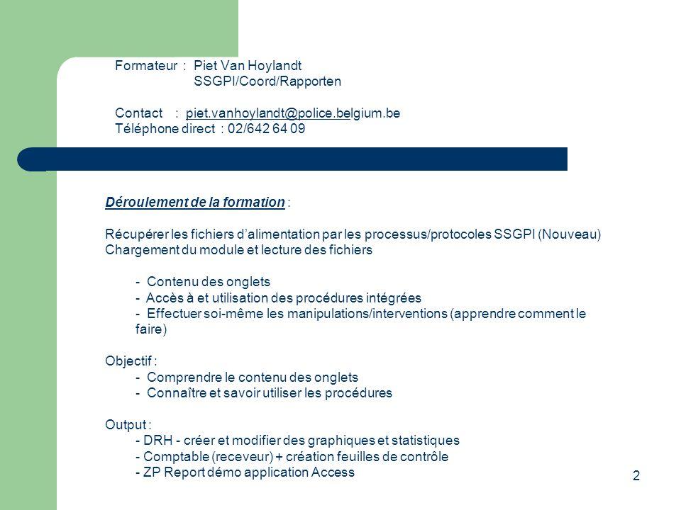 2 Formateur: Piet Van Hoylandt SSGPI/Coord/Rapporten Contact : piet.vanhoylandt@police.belgium.bepiet.vanhoylandt@police.be Téléphone direct : 02/642