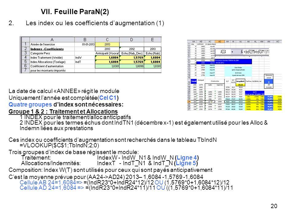 20 VII. Feuille ParaN(2) Ces index ou coefficients daugmentation sont recherchés dans le tableau TbIndN =VLOOKUP($C$1;TbIndN;2;0) Trois groupes dindex