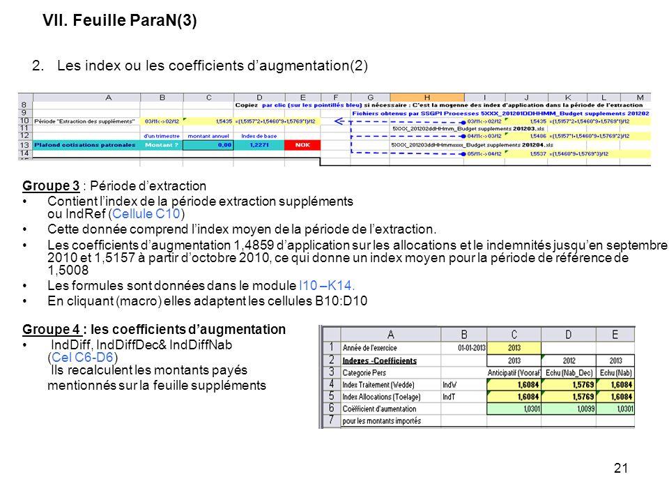 21 VII. Feuille ParaN(3) Groupe 3 : Période dextraction Contient lindex de la période extraction suppléments ou IndRef (Cellule C10) Cette donnée comp