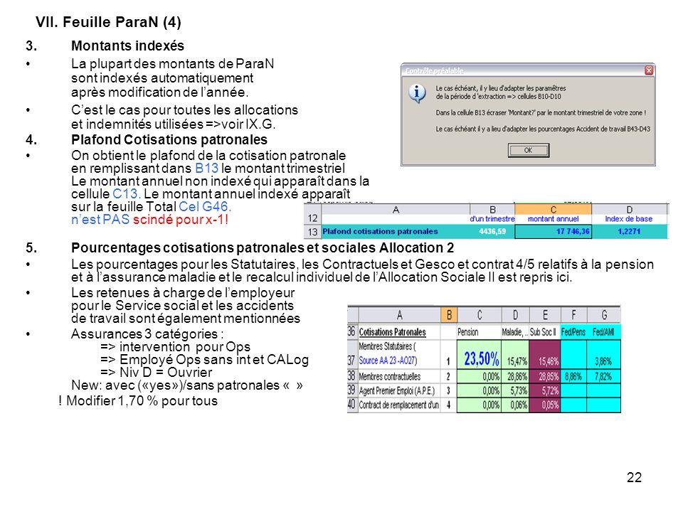 22 VII. Feuille ParaN (4) 3.Montants indexés La plupart des montants de ParaN sont indexés automatiquement après modification de lannée. Cest le cas p