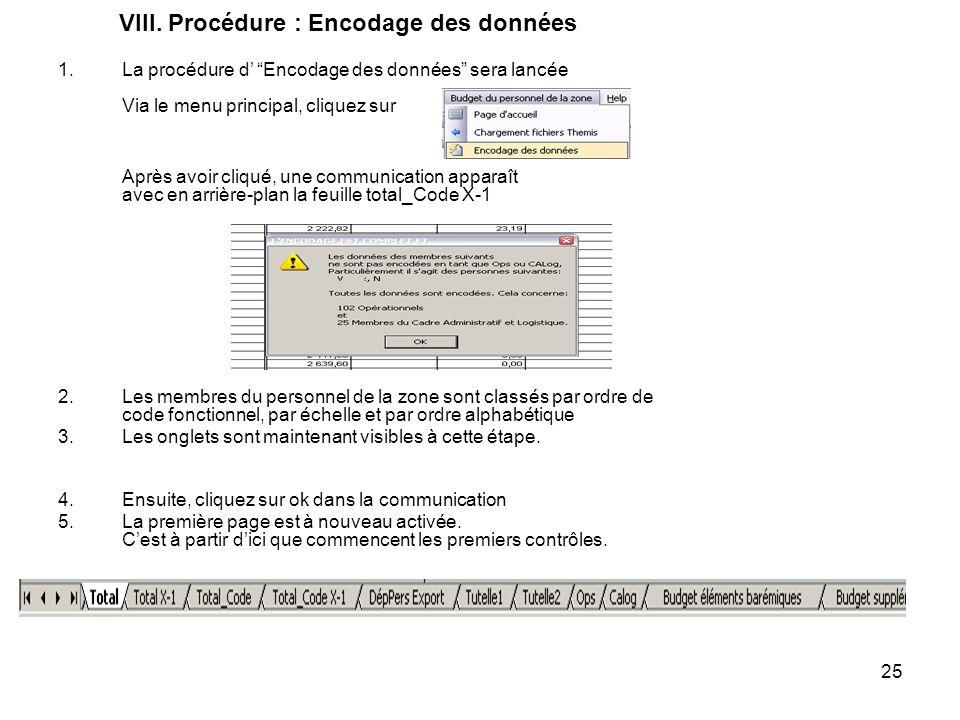 25 VIII. Procédure : Encodage des données 1.La procédure d Encodage des données sera lancée Via le menu principal, cliquez sur Après avoir cliqué, une