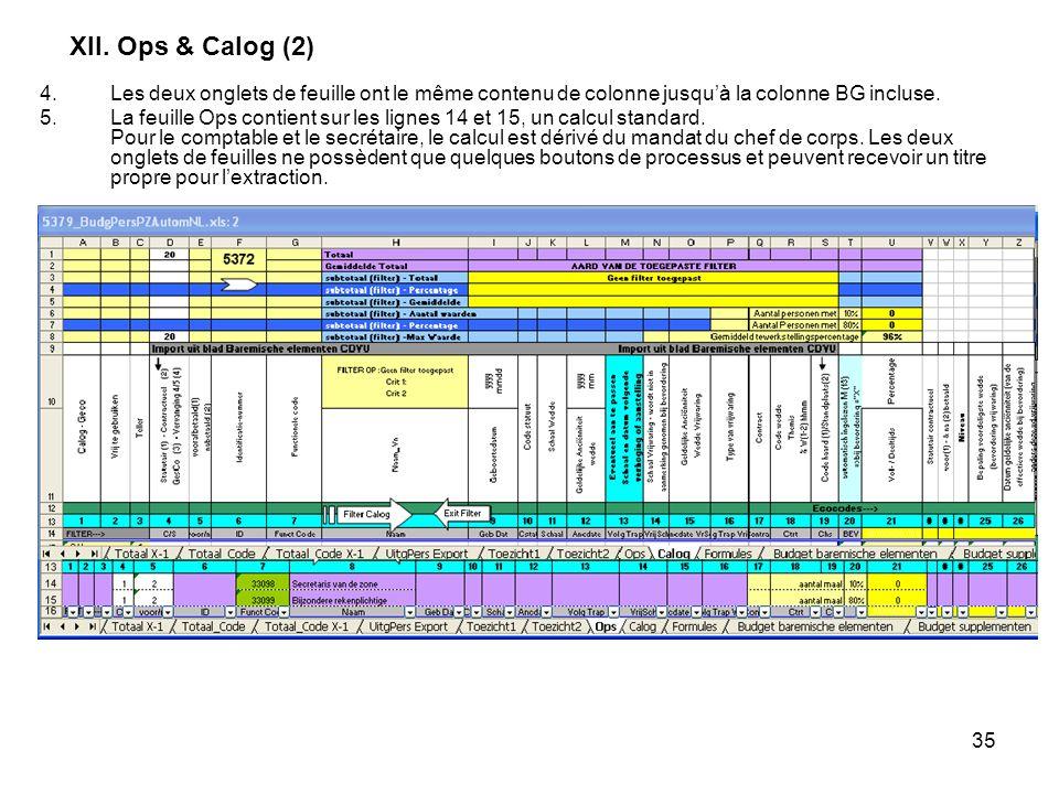 35 XII. Ops & Calog (2) 4.Les deux onglets de feuille ont le même contenu de colonne jusquà la colonne BG incluse. 5.La feuille Ops contient sur les l
