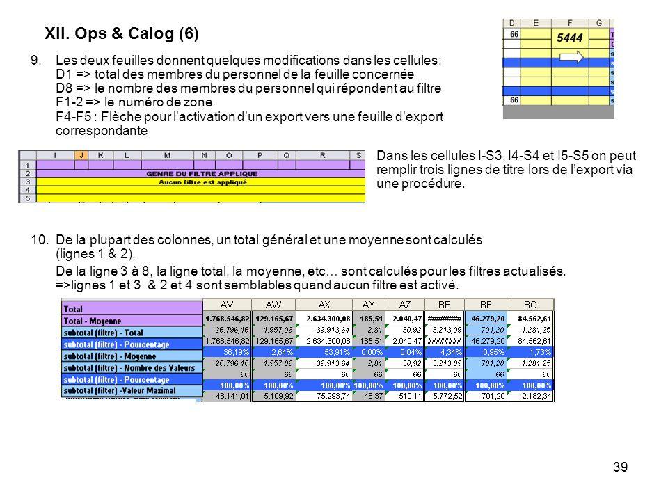 39 XII. Ops & Calog (6) 10.De la plupart des colonnes, un total général et une moyenne sont calculés (lignes 1 & 2). De la ligne 3 à 8, la ligne total