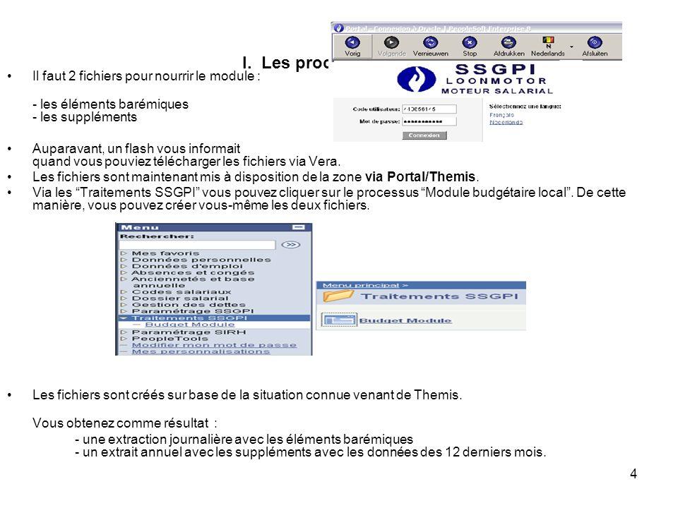 4 I. Les processus SSGPI Il faut 2 fichiers pour nourrir le module : - les éléments barémiques - les suppléments Auparavant, un flash vous informait q