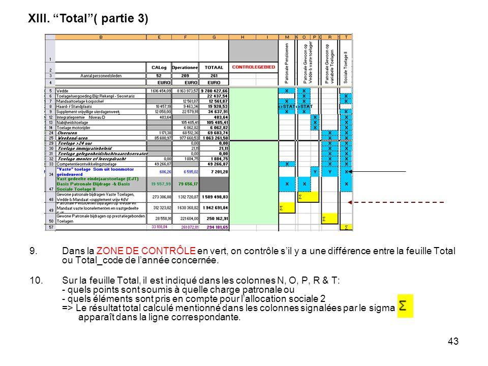 43 9.Dans la ZONE DE CONTRÔLE en vert, on contrôle sil y a une différence entre la feuille Total ou Total_code de lannée concernée. 10.Sur la feuille