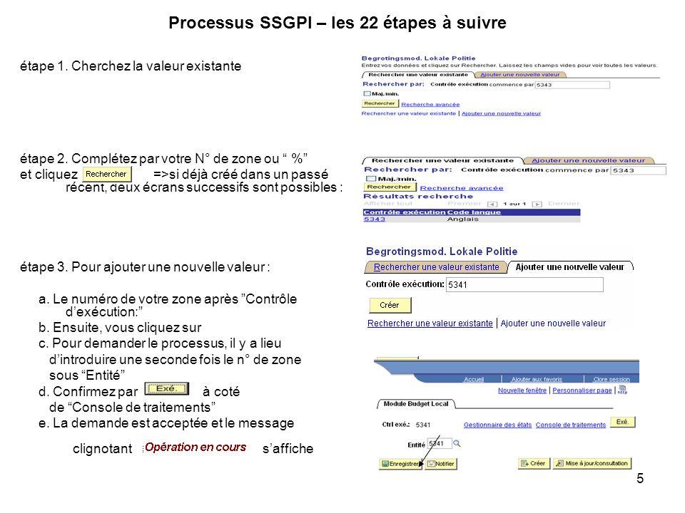 5 Processus SSGPI – les 22 étapes à suivre étape 1. Cherchez la valeur existante étape 2. Complétez par votre N° de zone ou % et cliquez =>si déjà cré