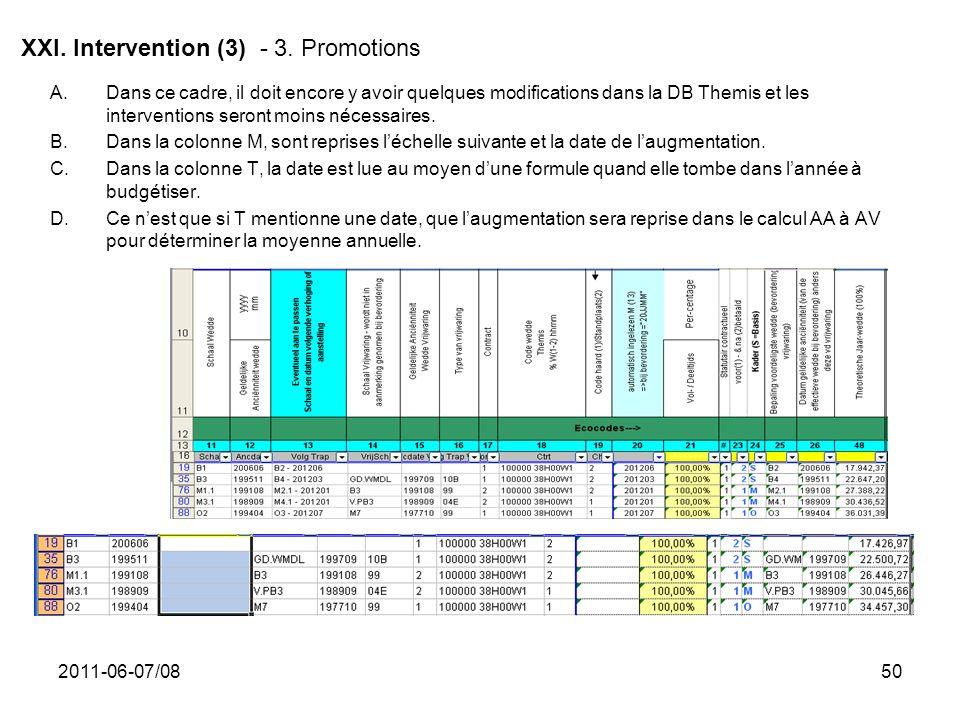 2011-06-07/0850 XXI. Intervention (3) - 3. Promotions A.Dans ce cadre, il doit encore y avoir quelques modifications dans la DB Themis et les interven