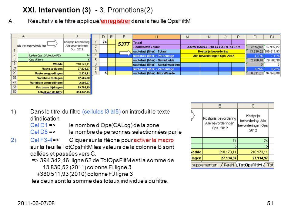 2011-06-07/0851 XXI. Intervention (3) - 3. Promotions(2) A. Résultat via le filtre appliqué/enregistrer dans la feuille OpsFiltM 1)Dans le titre du fi