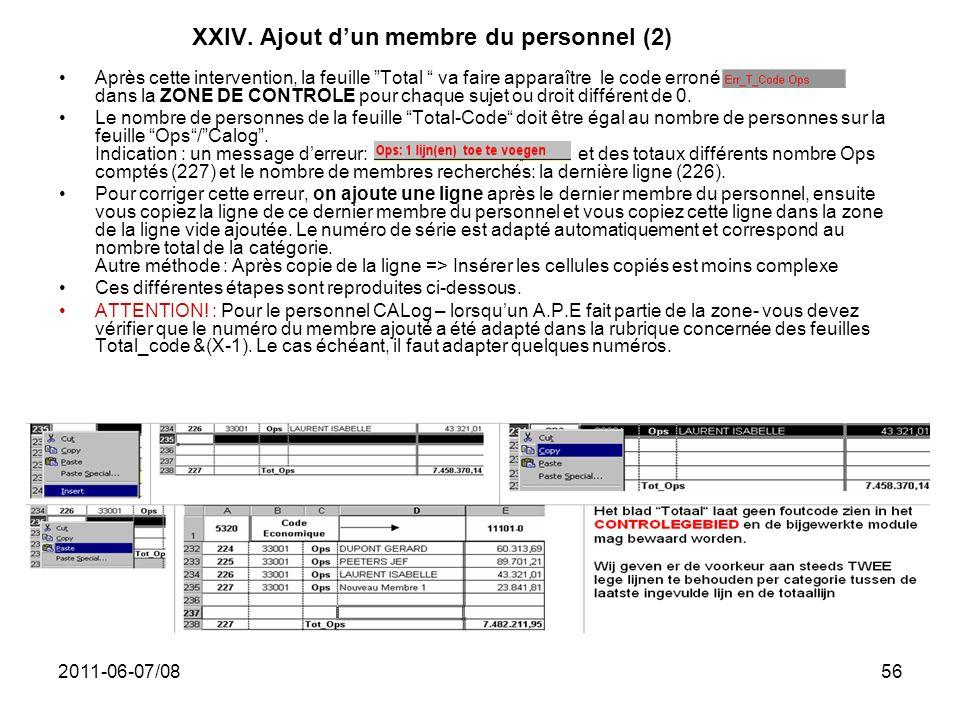 2011-06-07/0856 XXIV. Ajout dun membre du personnel (2) Après cette intervention, la feuille Total va faire apparaître le code erroné dans la ZONE DE