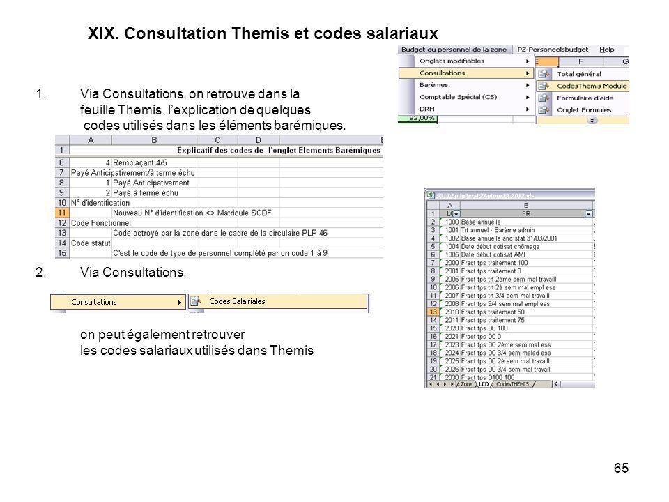 65 XIX. Consultation Themis et codes salariaux 1.Via Consultations, on retrouve dans la feuille Themis, lexplication de quelques codes utilisés dans l