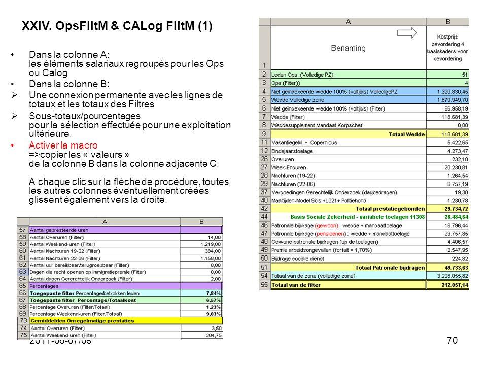 2011-06-07/0870 Dans la colonne A: les éléments salariaux regroupés pour les Ops ou Calog Dans la colonne B: Une connexion permanente avec les lignes