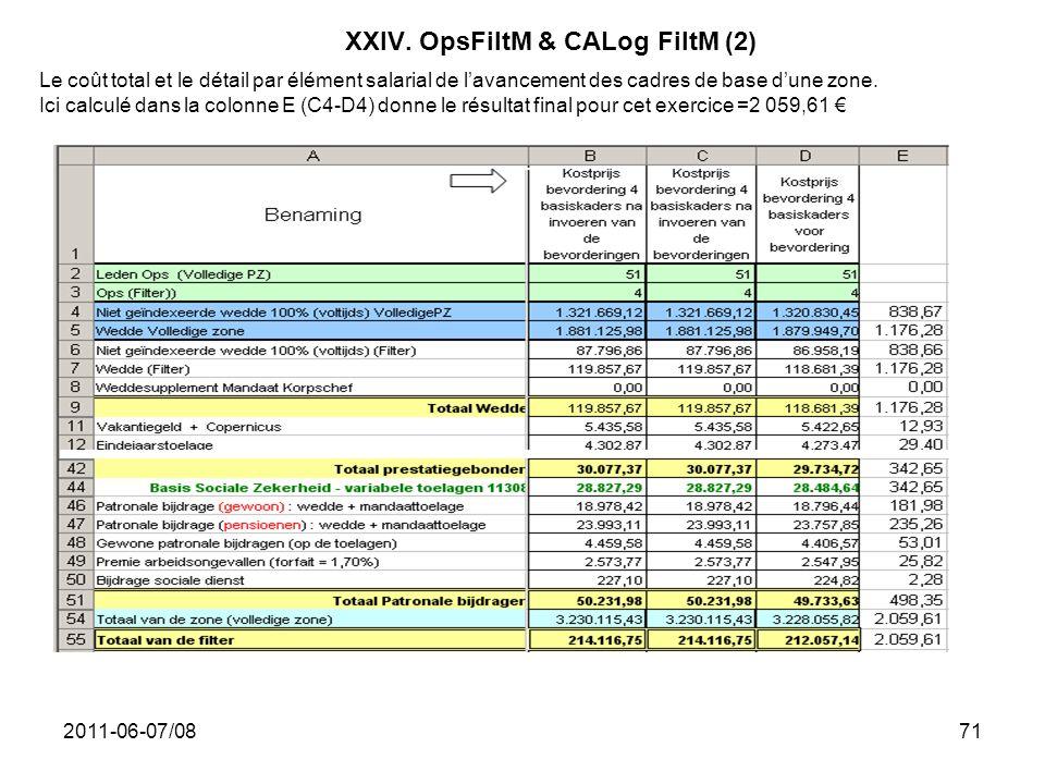 2011-06-07/0871 XXIV. OpsFiltM & CALog FiltM (2) Le coût total et le détail par élément salarial de lavancement des cadres de base dune zone. Ici calc