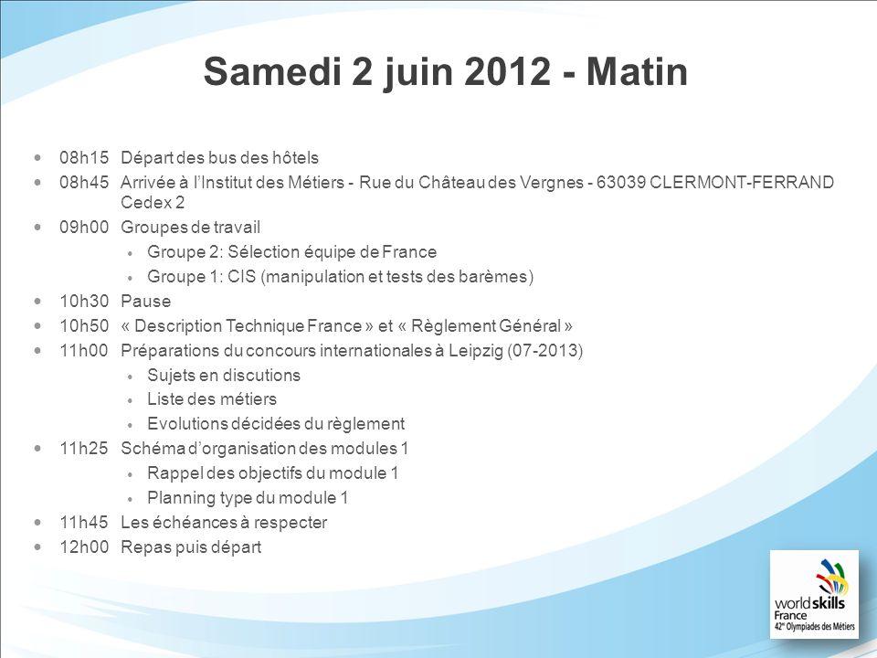 Samedi 2 juin 2012 - Matin 08h15Départ des bus des hôtels 08h45Arrivée à lInstitut des Métiers - Rue du Château des Vergnes - 63039 CLERMONT-FERRAND C