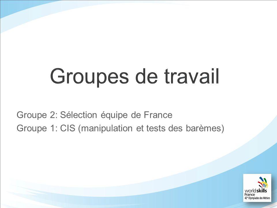 Groupe 2: Sélection équipe de France Groupe 1: CIS (manipulation et tests des barèmes)