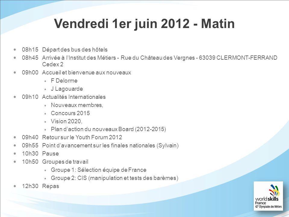 Vendredi 1er juin 2012 - Matin 08h15Départ des bus des hôtels 08h45Arrivée à lInstitut des Métiers - Rue du Château des Vergnes - 63039 CLERMONT-FERRA